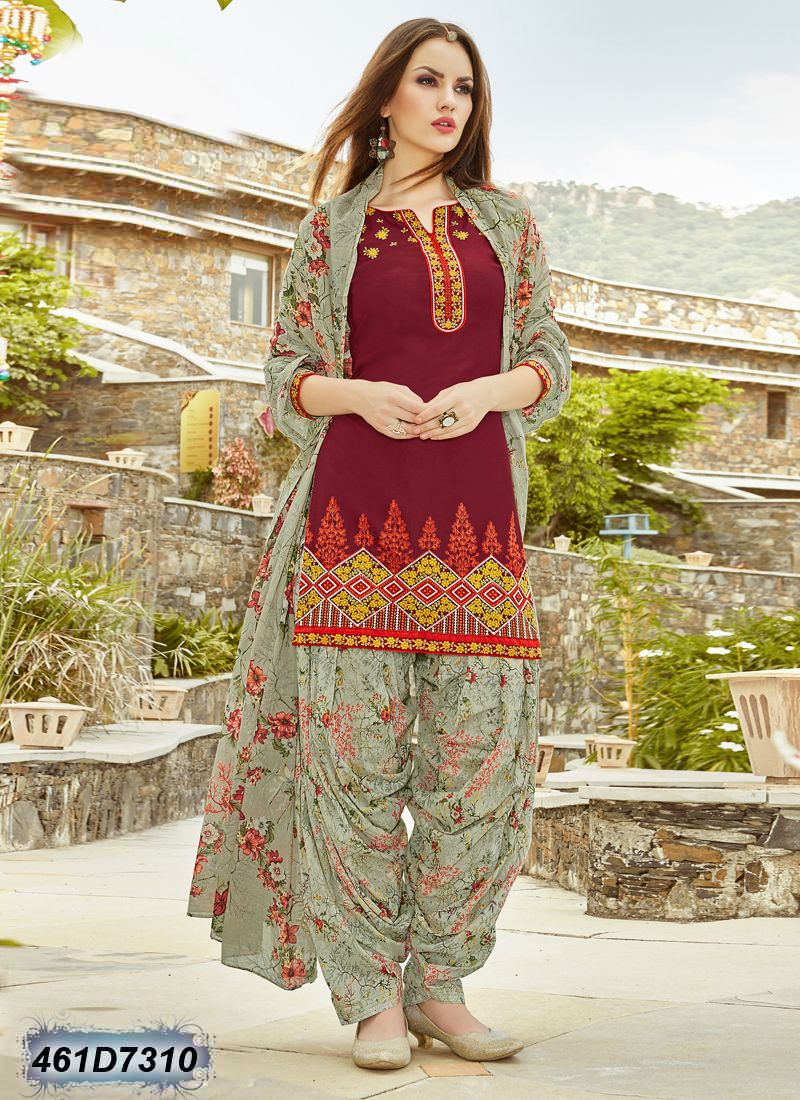 7923f1646b Versatile Maroon Coloured Cambric Cotton Stitched Salwar Suit | my ...