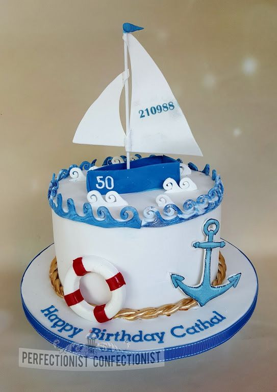Peachy Cathal 40Th Birthday Sailboat Cake Sailing Cake Boat Cake Personalised Birthday Cards Veneteletsinfo