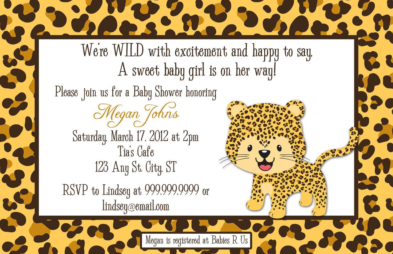 leopard baby shower invitations   Leopard Digital Baby Shower or ...