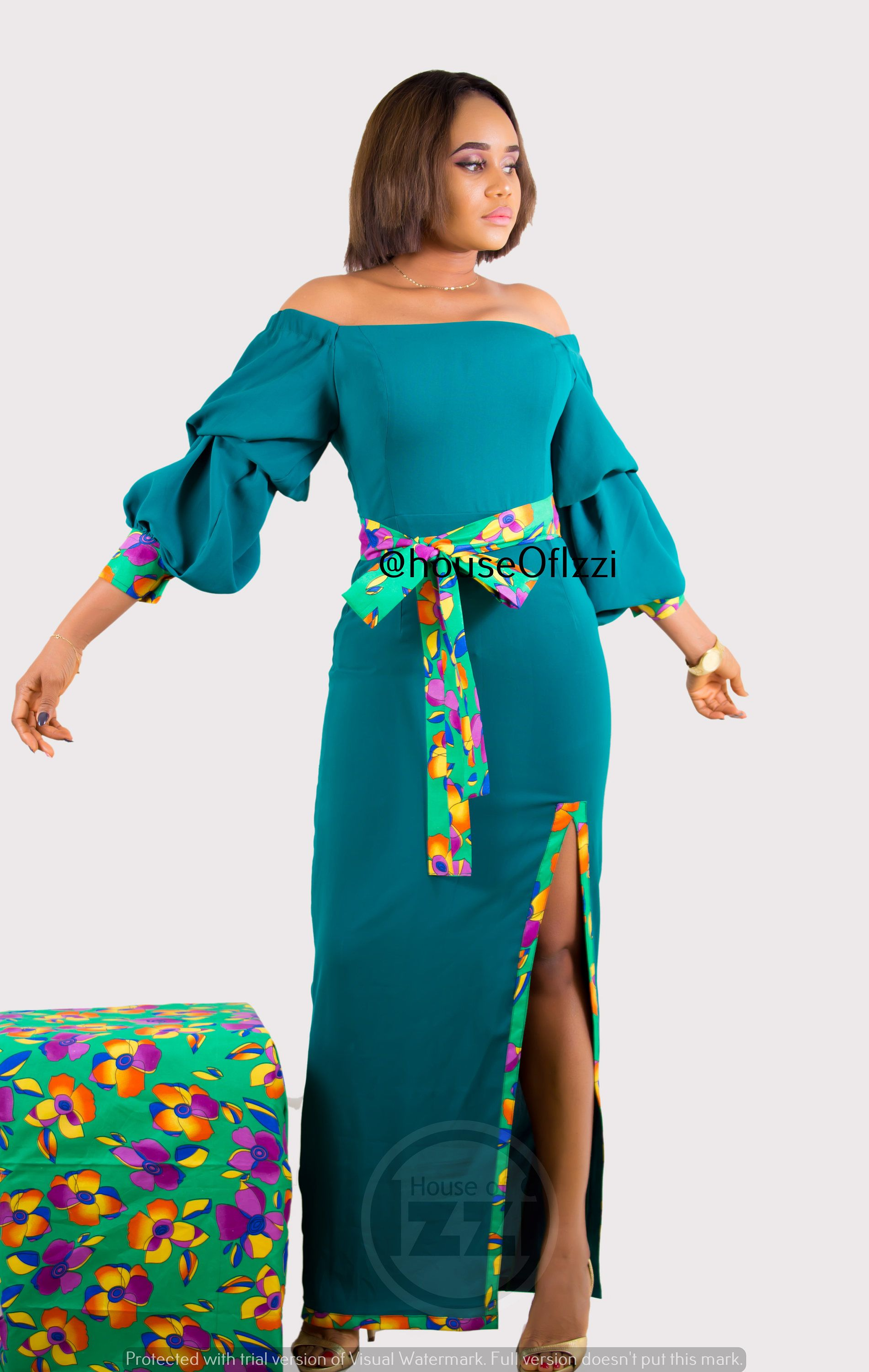 Mintflower floor length dress with ankara belt and taping processing