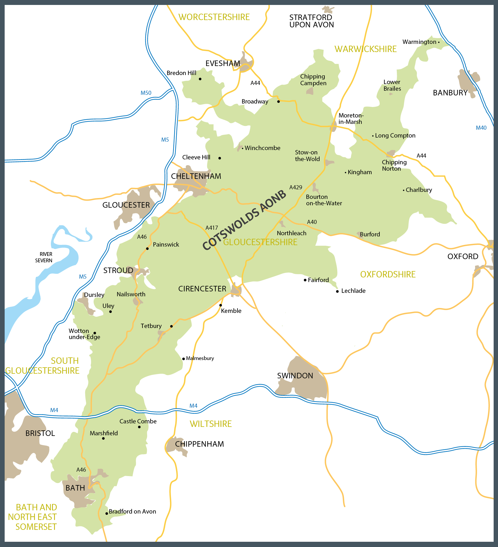 Map Of The Cotswolds Cotswolds Map | Cotswold Maps | Cotswolds AONB | UK 2018 Trip in