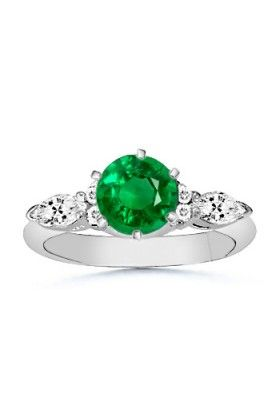 Angara Diamond and Emerald-Cut Emerald Ring in 14k White Gold