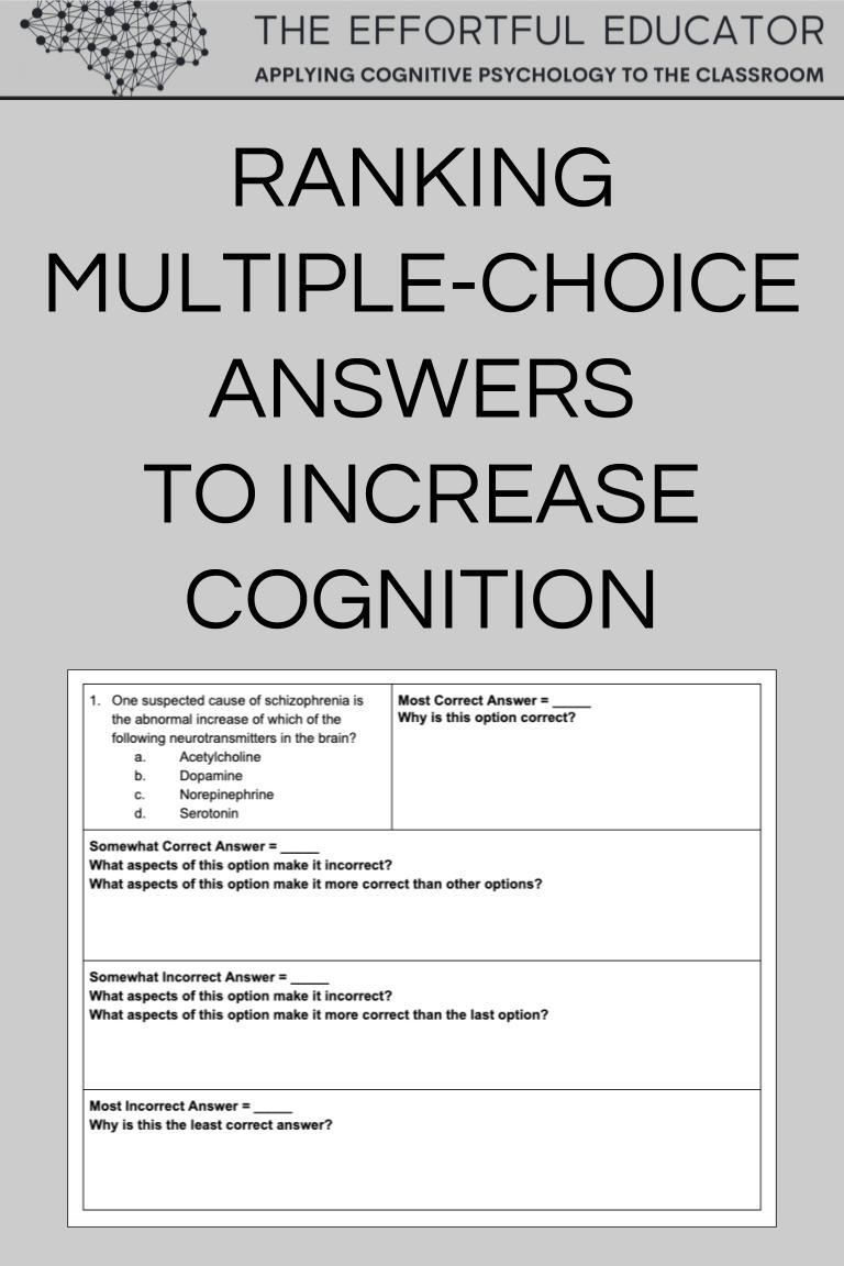 Ranking Multiple Choice Answers To Increase Cognition The Effortful Educator In 2020 Teaching Strategies Teaching Social Studies Teaching