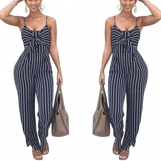 32b1854860d8 Black-White Striped Cut Out Backless Lace-up Spaghetti Strap Wide Leg Long  Jumpsuit  teenfashionideas