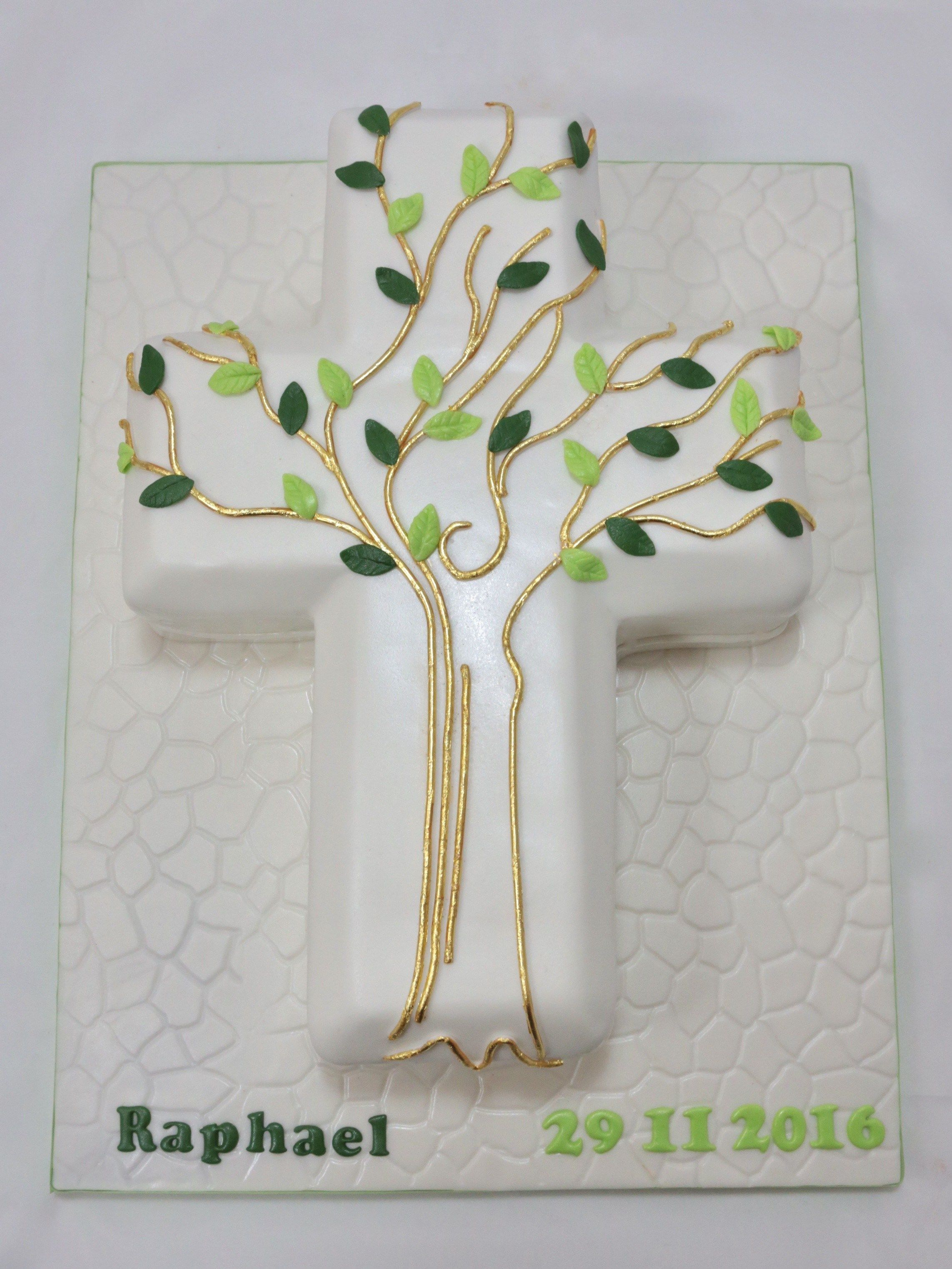 Kuchen Deko Gold Confirmation Cake Torte Tree Baum Gold Fondant Cross Kreuz