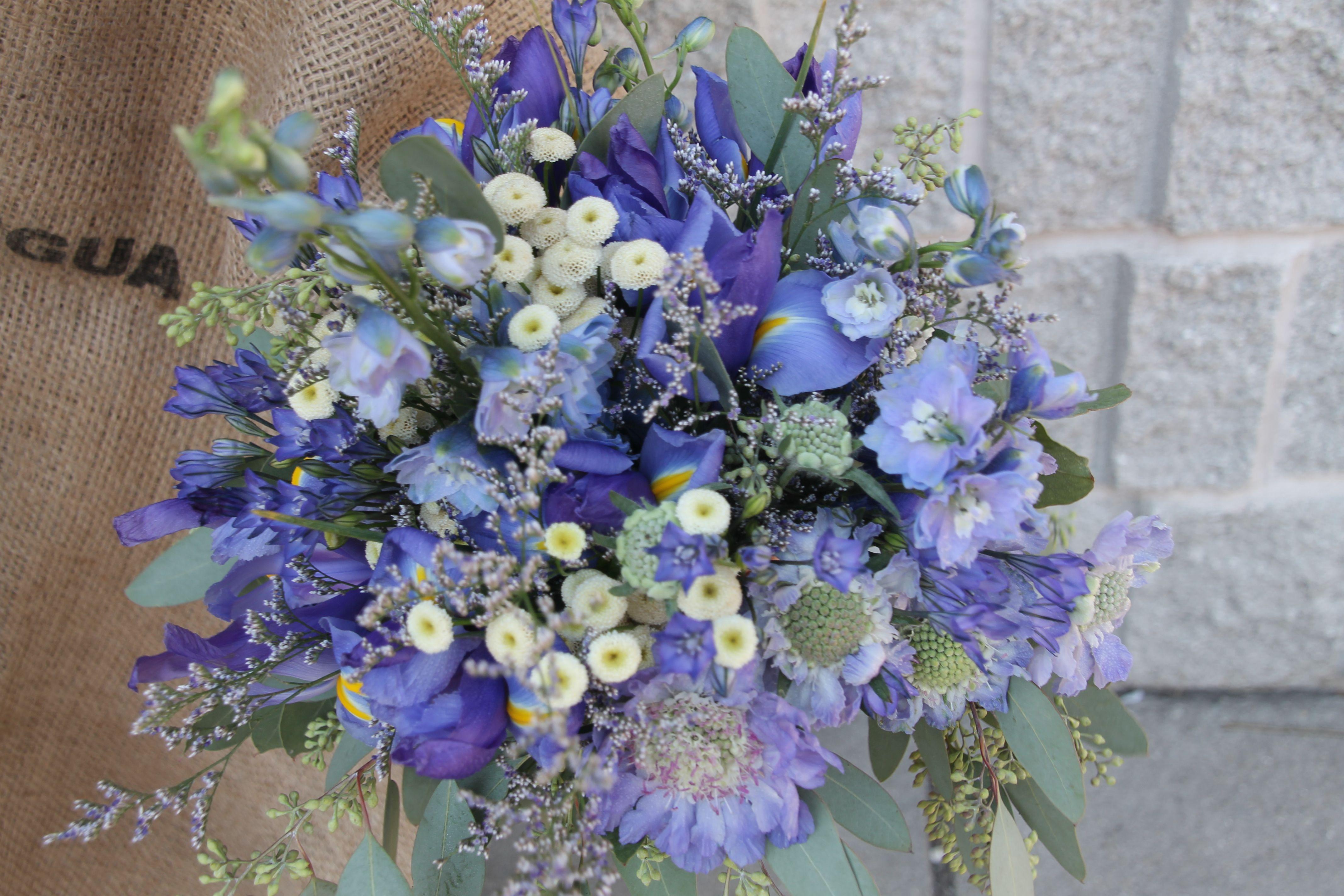 Blue Delphinium Blue Iris Bluelavender Scabiosa Flower Mini