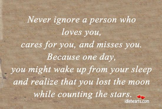 never ignore a person who loves you | Beauty is more than