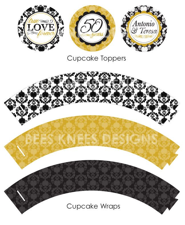 Printable 50th Wedding Anniversary Party Pack Banner Cupcake Toppers Thank You Cards Buffet Sign Water Bottle Label 12 99 Via Etsy