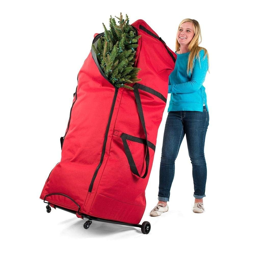 Santa S Bags Upright 9 Ft Tree Storage Duffel Bag With Front Handle Bar And Rear Metal Handle Christmas Tree Storage Bag Christmas Tree Storage Bag Storage