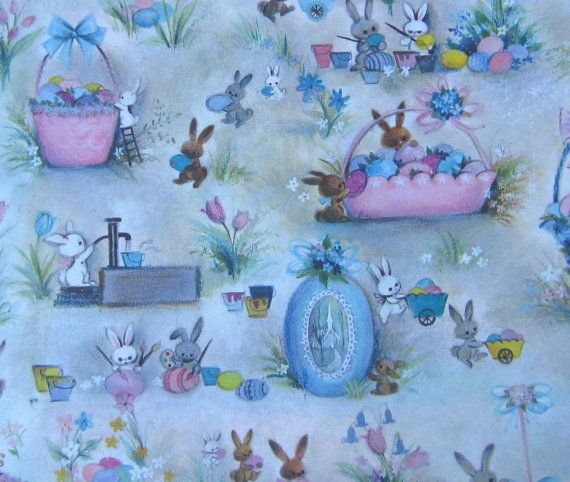 Easter sale 5 sheets vintage spring easter gift wrap easter 5 sheets vintage spring easter gift wrap by littleextrasvintage 799 negle Image collections