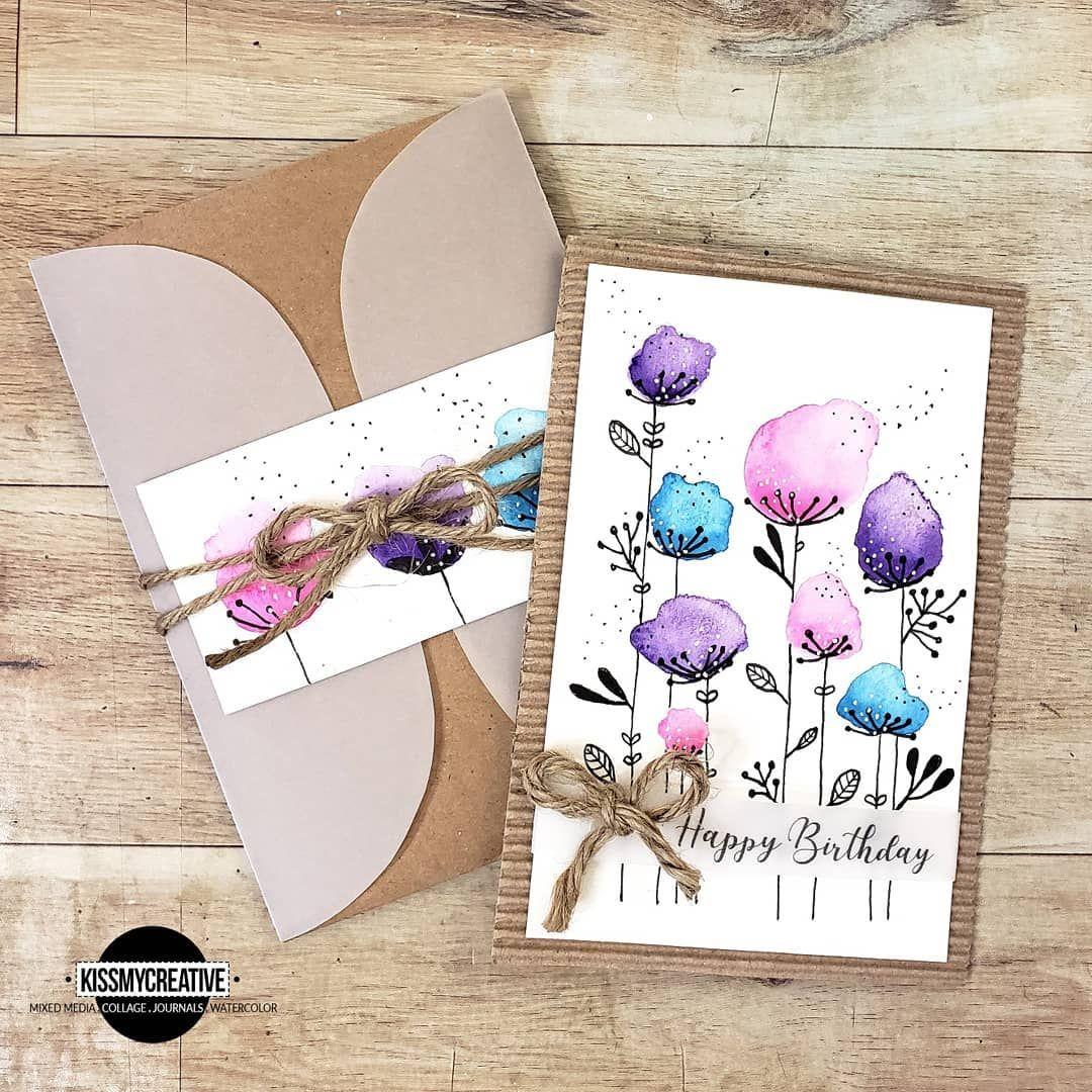 Днем, открытка своими руками акварелью маме на день рождения