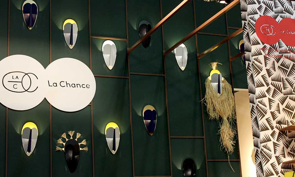 Modern side table designs - La chance booth at the international furniture fair in Milan. #interiordesign #furniture #design #salonedelmobile #furnituredesign #isaloni #milan #furniturefair #milandesignweek