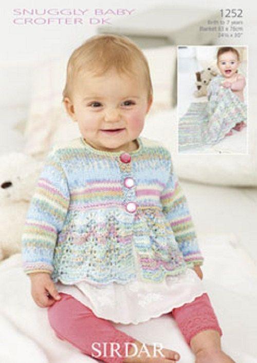 Knitting Pattern Baby cardigan and blanket sirdar 1252 size 0-7yrs ...