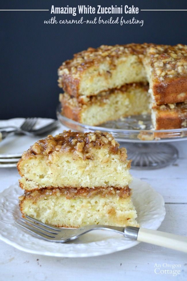 White Zucchini Cake With Caramel Nut Broiled Frosting Recipe