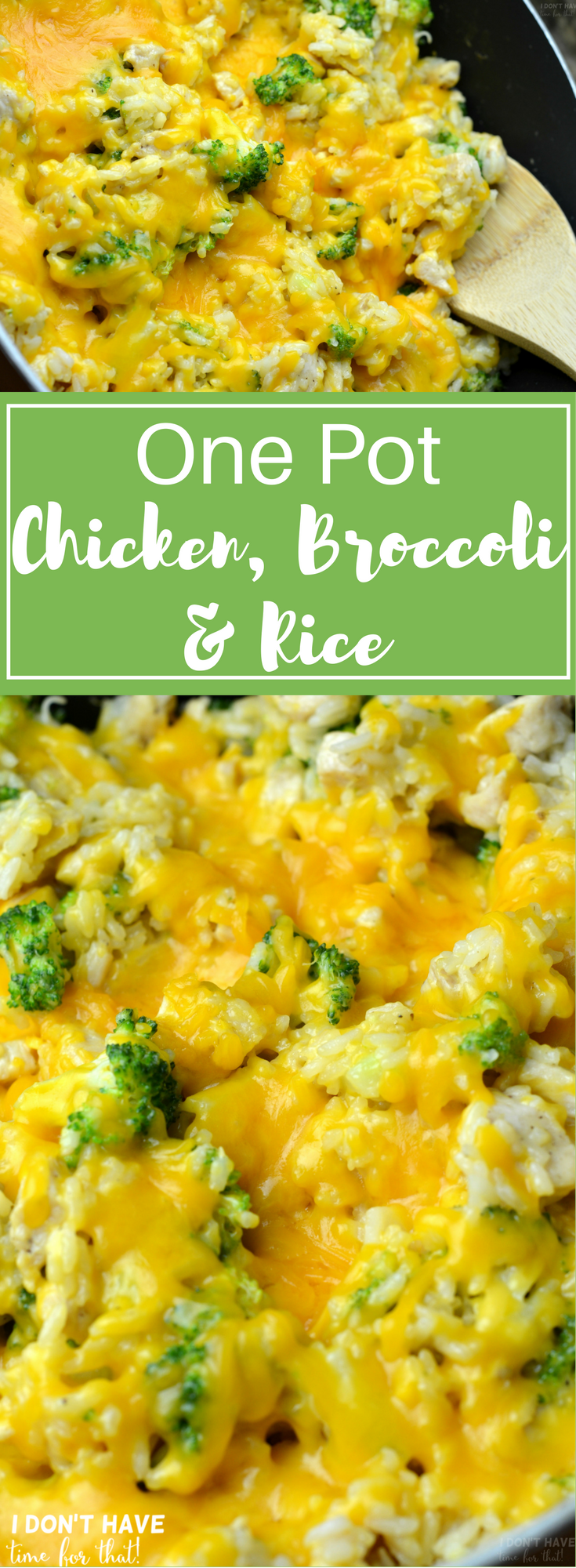 This One Pot Chicken, Broccoli, & Rice is the perfect solution for a busy week night dinner! Save time and sanity with only one dish to wash from this delicious dinner your family will be begging to have again! #chickenbreastrecipeseasy