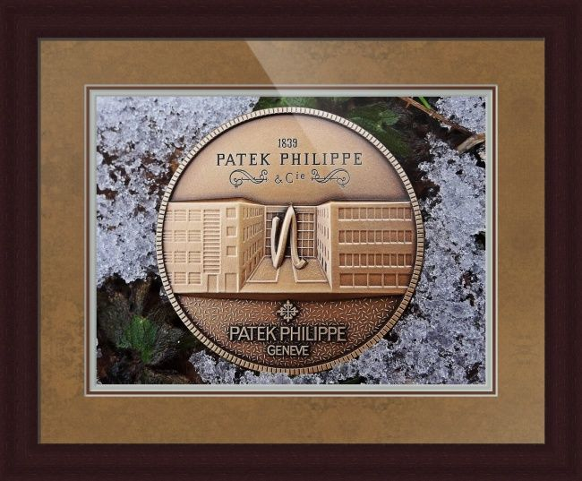 """Patek Philippe Geneve Commemorative Medal Coin // Paper: enhanced matte; Glazing: acrylic; Moulding: dark brown, large flat espresso; Top Mat: brown, empire gold; Middle Mat: brown, umber; Bottom Mat: green, dynasty celadon // Price starts at $177 (Petite: 22.25"""" x 25.25""""). // Customize at http://www.imagekind.com/Patek-Philippe-Geneve-PPG_art?IMID=250a3c3a-9ae1-45ee-b711-570bba7fbf97"""