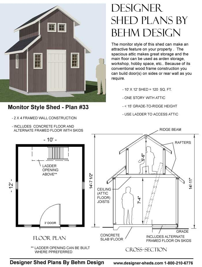 Monitor style shed plan 33 diy projects with step by for Monitor style barn plans