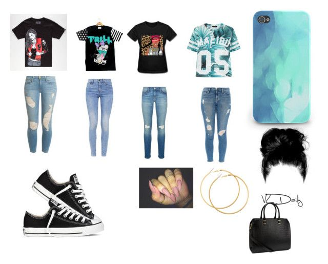 """""""Trill Shirts"""" by lilbib22 on Polyvore featuring Fatal, Frame Denim, Rebecca Minkoff, G-Star, Converse and H&M"""