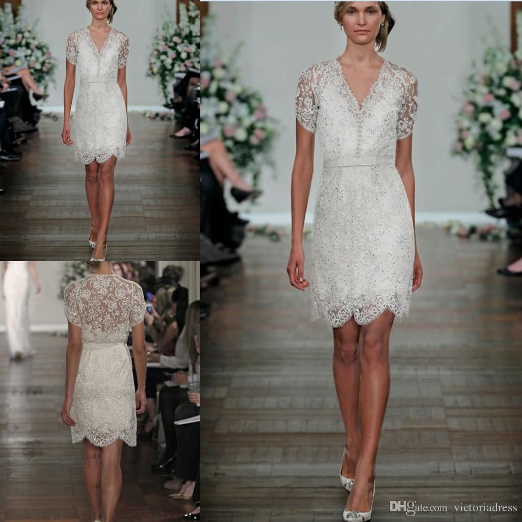 Nice great short sleeves v neck lace wedding dress bridal gown