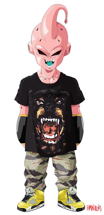 ae47dae3 Kid Buu rocking the Givenchy Rottweiler tee. Dragonball Fashion Buu pic on  Design You Trust