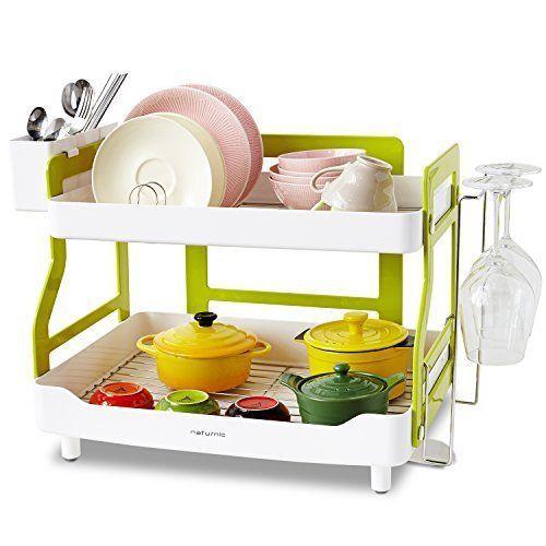 Kitchen Dish Drying Rack 2 Tier Cup Holder Hanger Pot Pan Storage