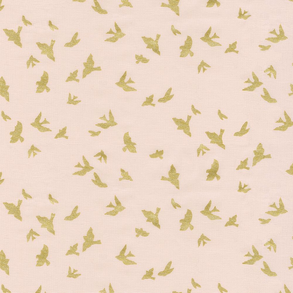 Peach and gold birds fabric by the yard carousel designs for Gold bird wallpaper