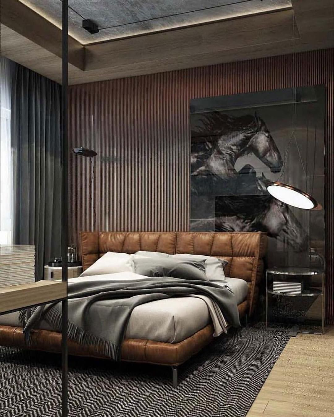 6 047 Likes 27 Comments Interior Design Design Interior Homes On Instagram Bachelor Pad By Yode Men S Bedroom Design Leather Bedroom Luxurious Bedrooms