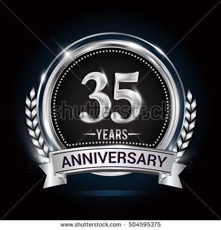 35 Years Silver Anniversary Logo With Laurel Wreath Ribbon And
