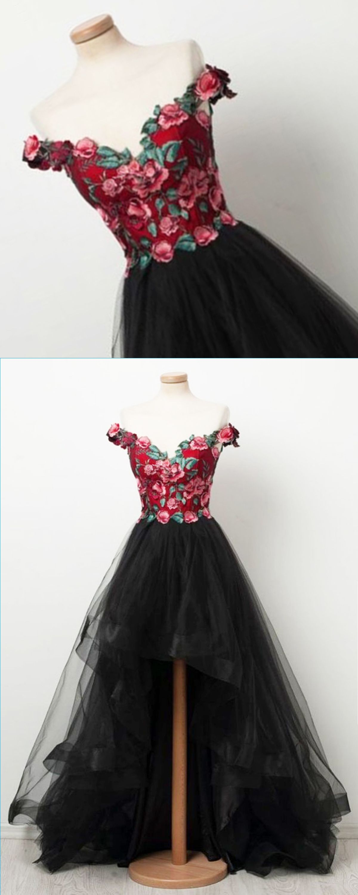 32b4cabe94c New design black tulle off shoulder red embroider high low homecoming dress
