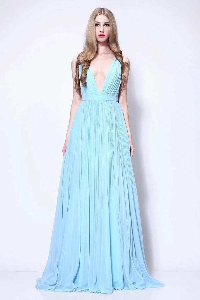 Sky Blue A-line Deep V-neck Pleated Prom Dress   Prom ...