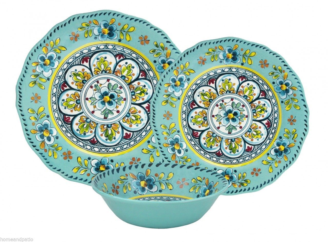 18pc Madrid Turquoise Top Quality Outdoor Patio Melamine Dinnerware Set For  Six | EBay