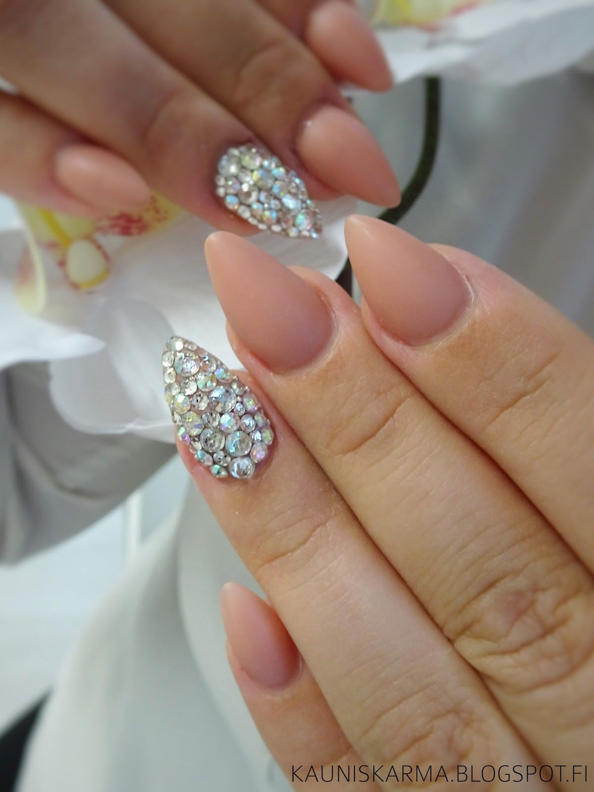 Diamond Nude Nail design nail art | Pretty Nail Designs Nail Art ...