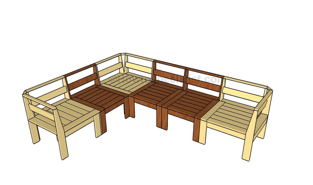 Outdoor sectional plans howtospecialist how to build for Sectional sofa frame plans