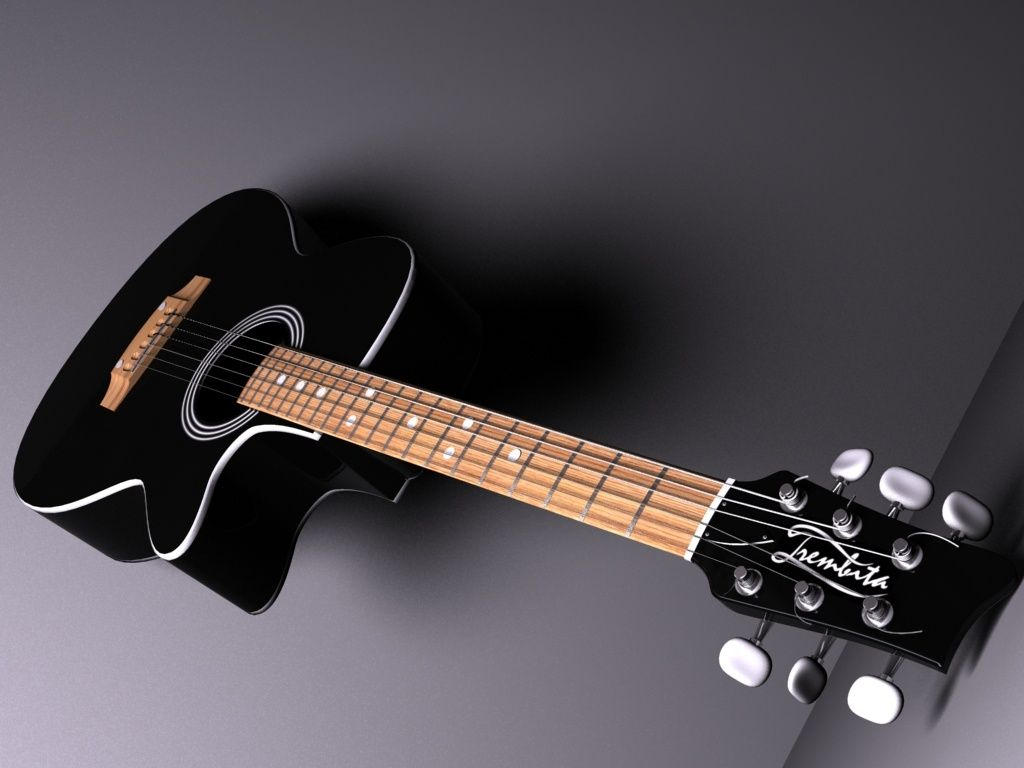 Fashion style Acoustic Black guitar wallpaper pictures for girls