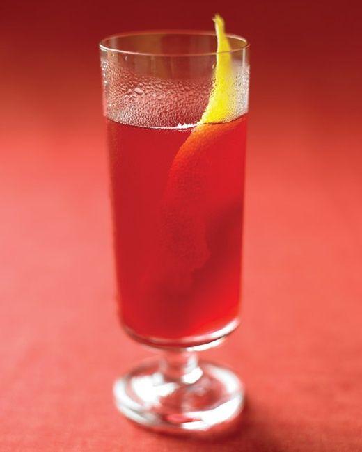 Black-Currant Cider Sparklers: Black-Currant Juice, Lemon Juice, Sparkling Cider, Lemon Peels.