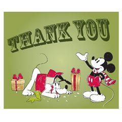 Free Disney Christmas Printable Mickey Pluto Thank You Card