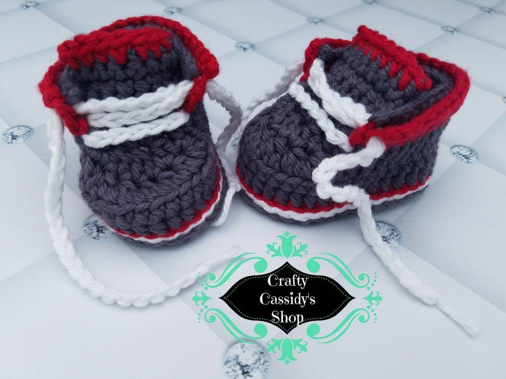Baby boy gray and red boot booties* Newborn boy shoes* Crochet baby boy booties by CraftyCassidysShop on Etsy