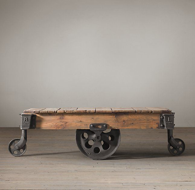 Superieur Restoration Hardware Furniture Factory Cart Coffee Table