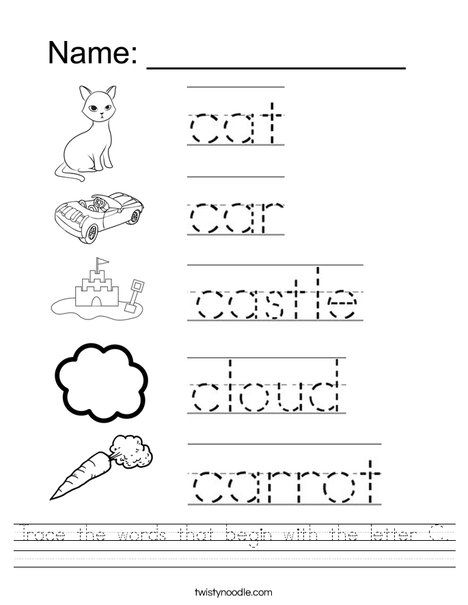 Trace The Words That Begin With The Letter C Worksheet Twisty Noodle Alphabet Worksheets Preschool Preschool Letters Letter C Worksheets