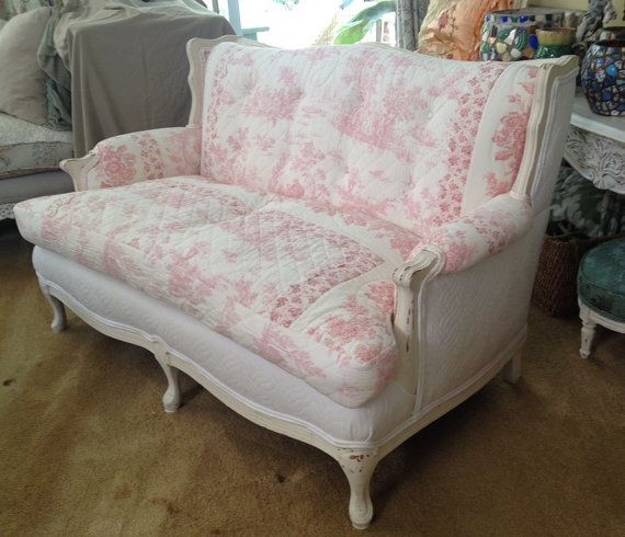 A Lovely Quality Vintage Love Seat Sofa French Country Cottage Chic Red With Toile Quilt Upholstery And White Matele