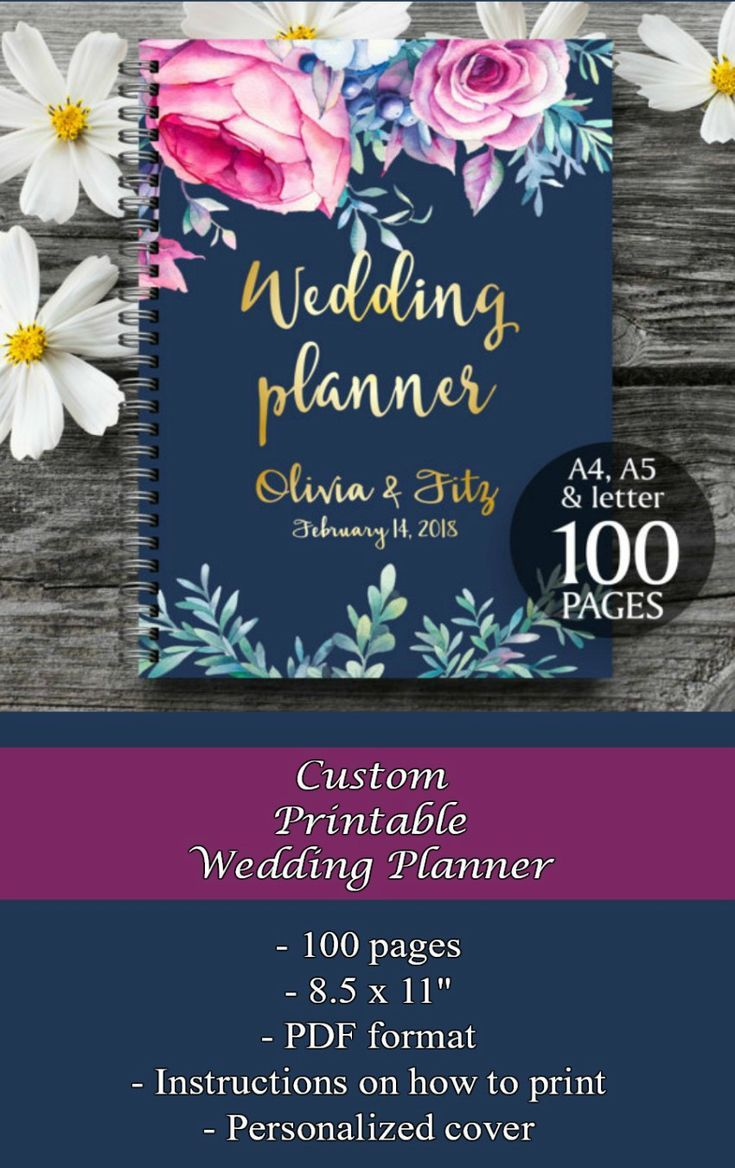 If you're planning a wedding, and aren't sure where to start, this planner printable includes 100 pages to help you plan your dream wedding. You can personalize the cover also. #ad #planners #printables #weddings #weddingplanner #printableplanner #weddinginspiration #weddingplanning
