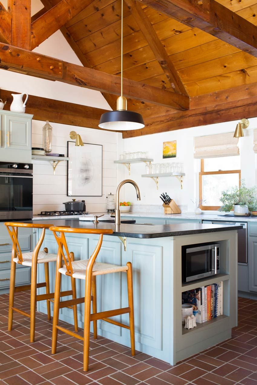 Blue Kitchen Cupboards Wood Ceiling And Details Dark Countertops And Stainless Steel Charming Modern Kitch Home Decor Kitchen Kitchen Remodel Kitchen Design