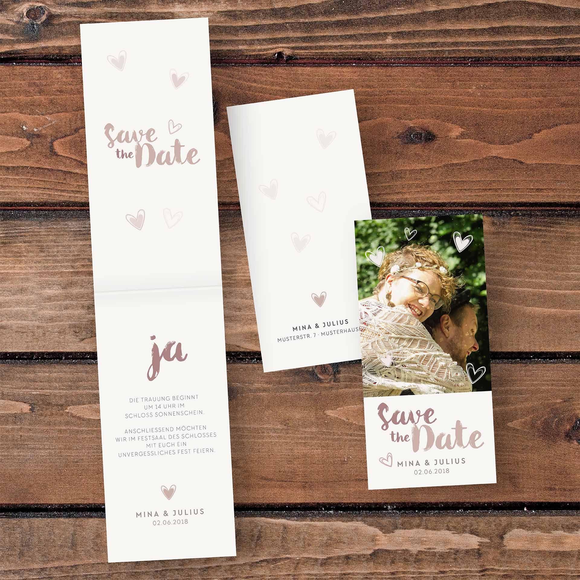 Hochzeitskarten Einladungskarte – 4-Seiter Hochformat Kopffalz ...