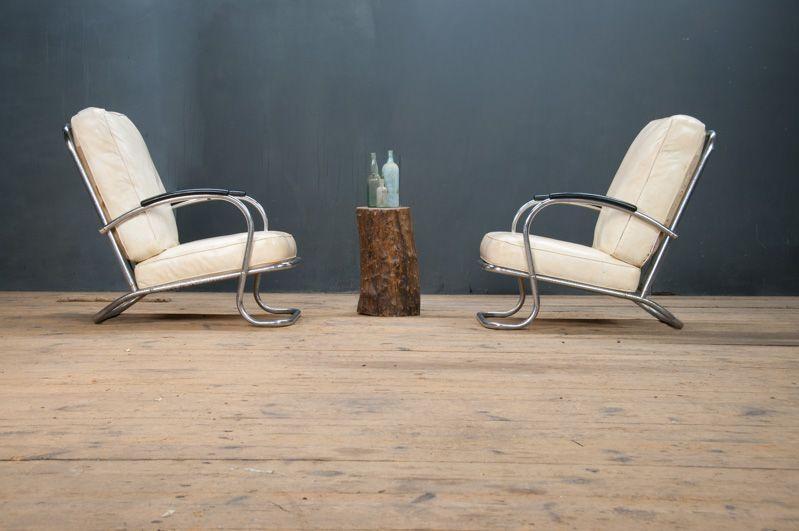 Usa 1930s Vintage Kem Weber Art Deco Lounge Chairs