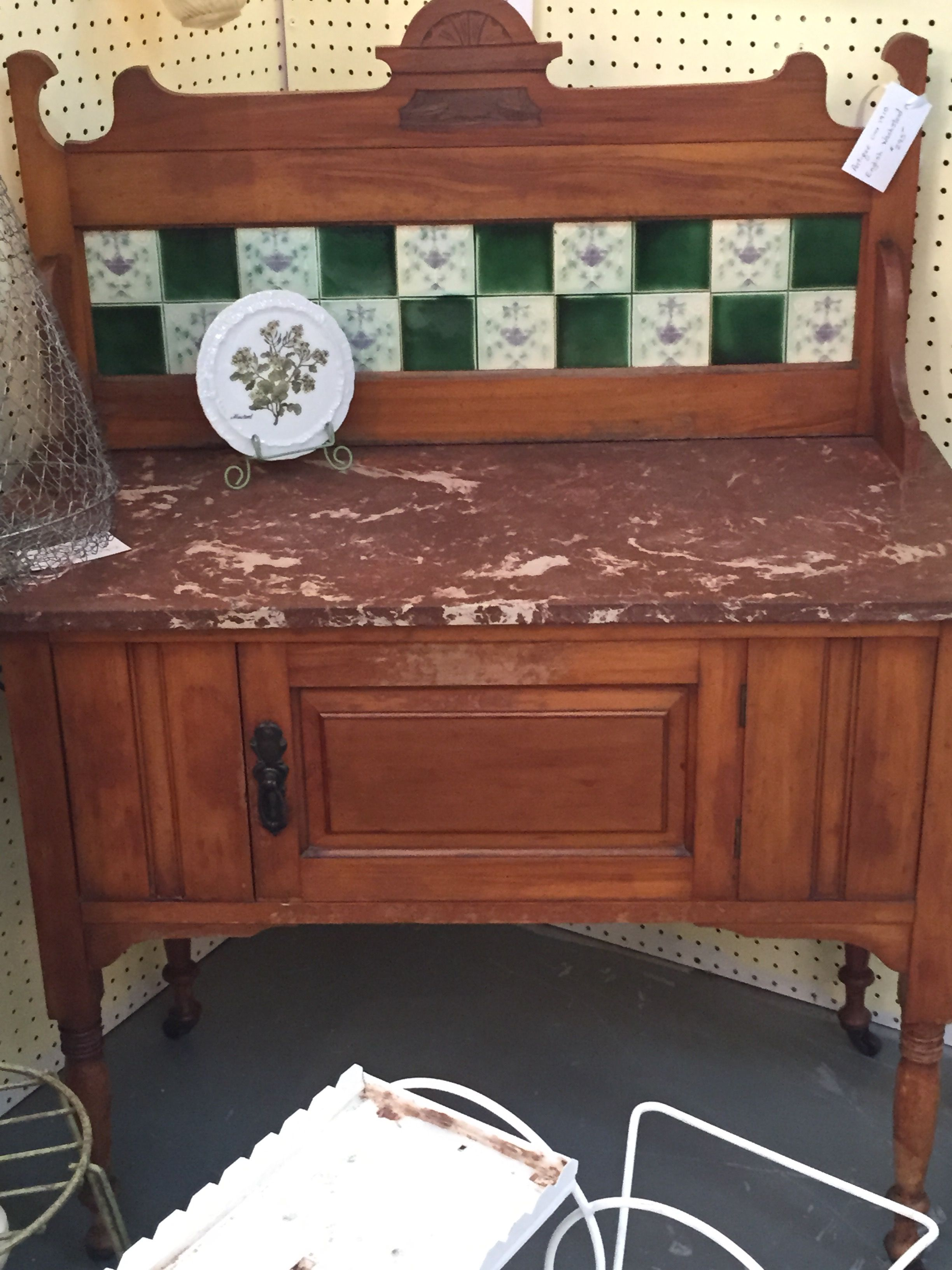Antique English Wash Stand With Marble Top Tile