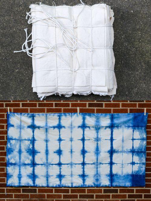 Indigo Dyeing Handmade Shower Curtain Shibori Fabric Shibori