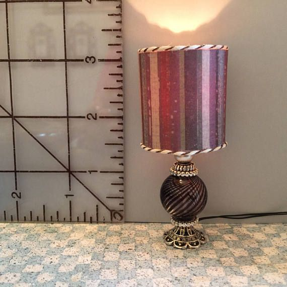 One Of A Kind Electric Dollhouse Lamp With Drum Shade It Is Wired For 12 Volt Usage And Is Different Shades Of Brown And Purpl Lamp Drum Shade Glass Blowing