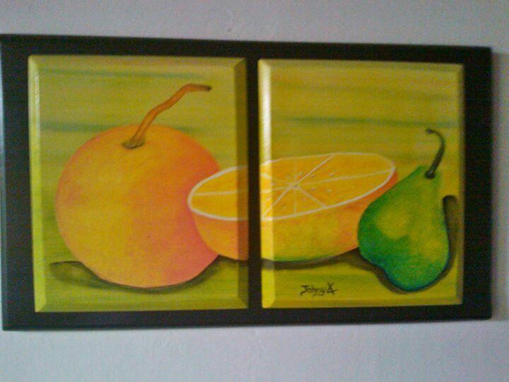 Pintura abstracta en madera