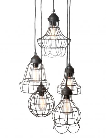 Wire 5 Light Pendant Domayne Rustic