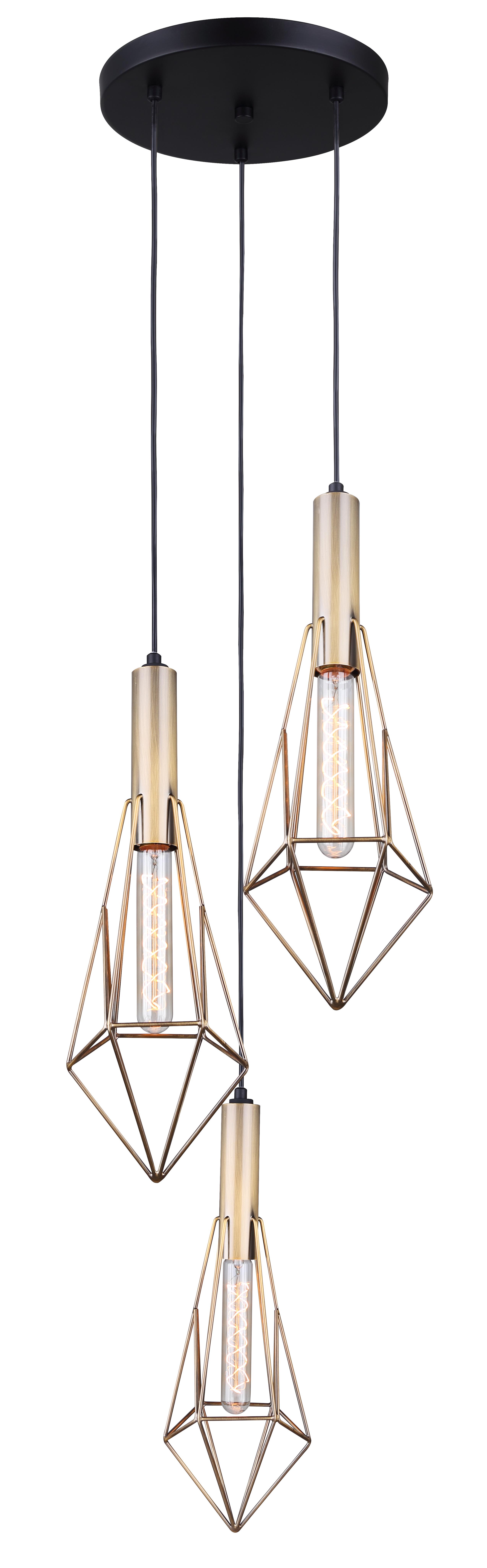 Greer Collection 3 Light Pendant In Matte Black Gold Ipl676a03bkg